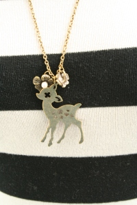 Necklace with Deer and Flowers Pendant